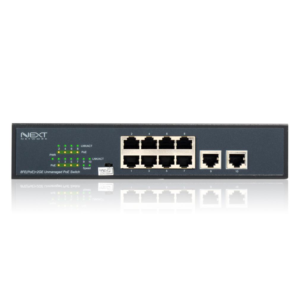 넥스트 8포트 10/100 Mbps PoE+2포트 업링크 스위칭 허브, NEXT-POE808FP