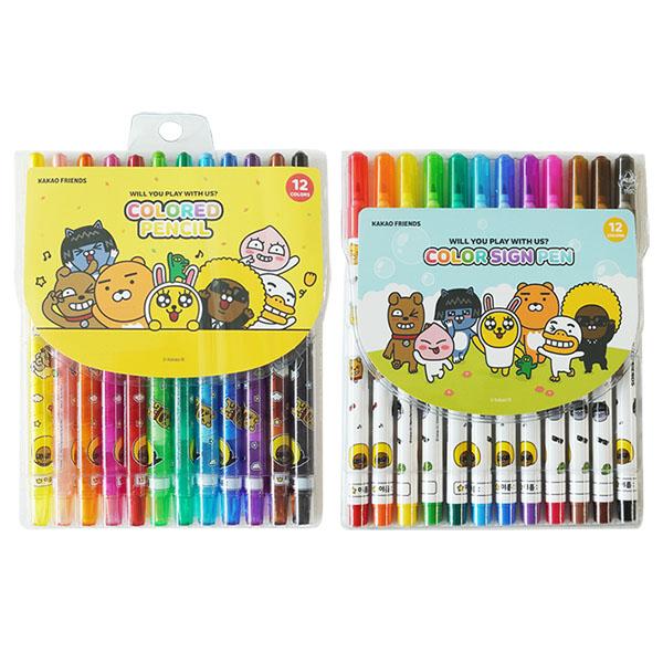 카카오프렌즈 12색 색연필 + 사인펜 세트, 혼합색상, 1세트