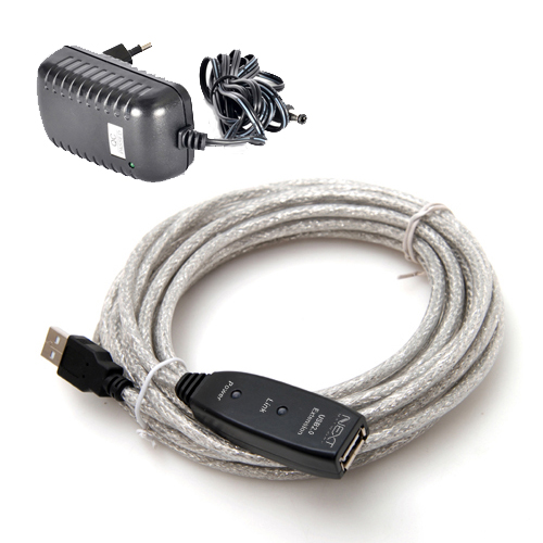 넥스트 USB2.0 리피터 연장케이블 5V 3A 아답터 포함 NEXT-USB05PW, 1개, 5m