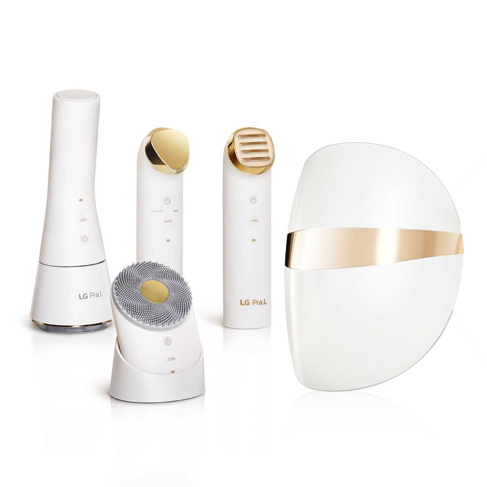 LG전자 프라엘 플러스V 초음파 피부마사지 5종 풀세트, PRALU5S1PV, 화이트골드