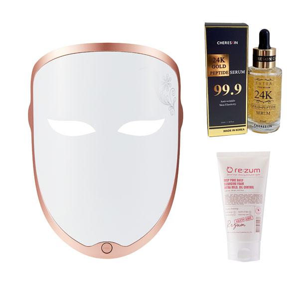 리쥼 LED 마스크 + 프리미엄 앰플 35ml + 로즈골드 클렌징폼, Re:7um Smart LED Mask, 혼합색상