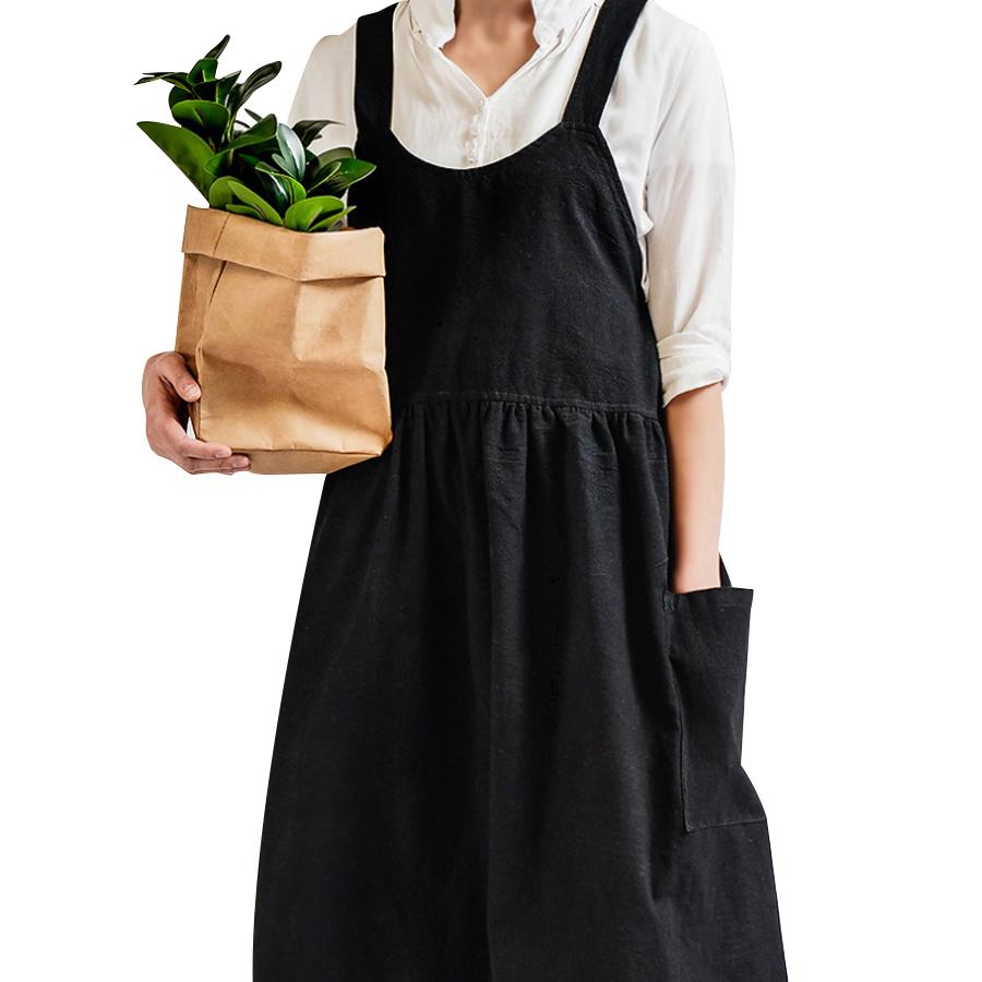 모던 린넨 앞치마 공방 작업복, 블랙, 1개
