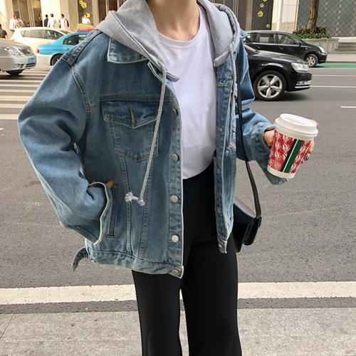 세컨핑크 여성용 오버핏 후드 탈부착 청자켓