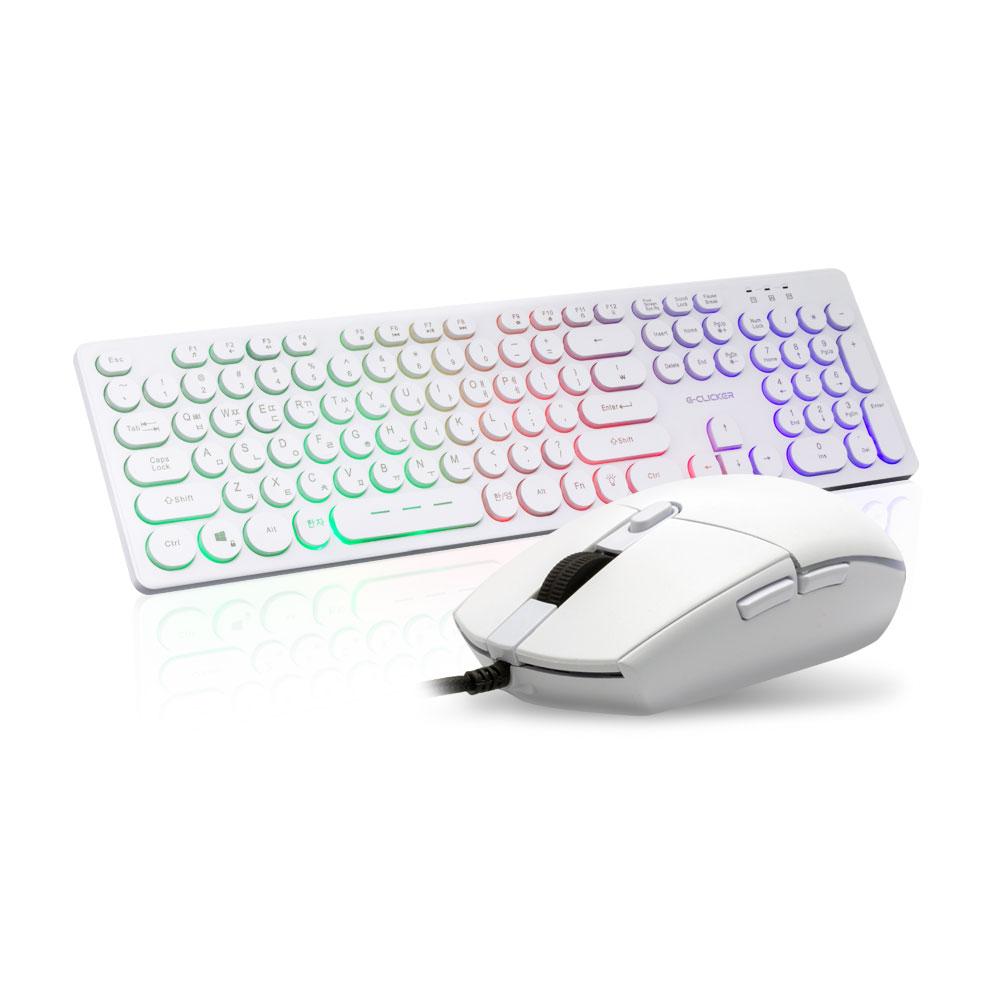 지클릭커 LED 키보드 마우스 세트, GMK-301, 화이트