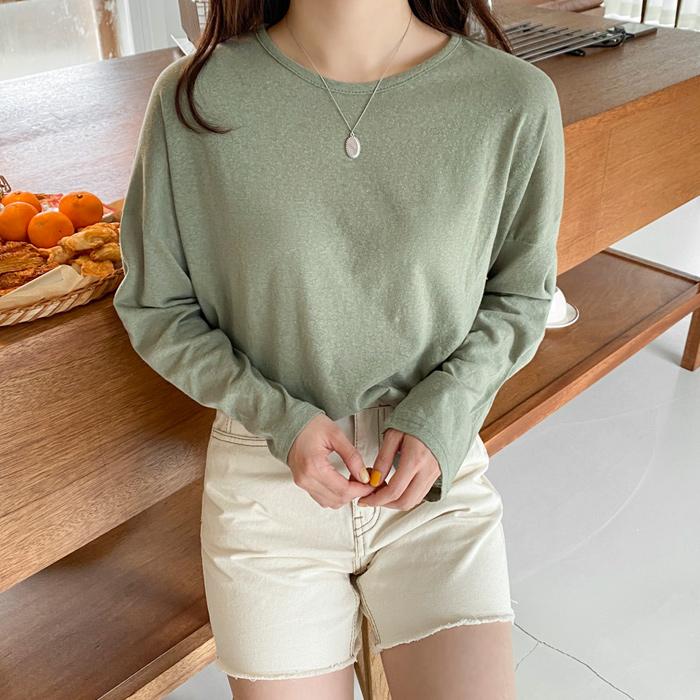 아모르데이 여성용 시스루 라운드 루즈핏 보카 긴팔 티셔츠