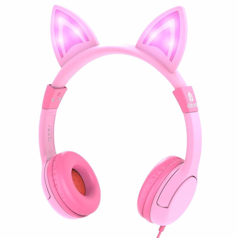 아이클레버 어린이 헤드폰 LED + 파우치, 핑크, iclever kids Headphones series