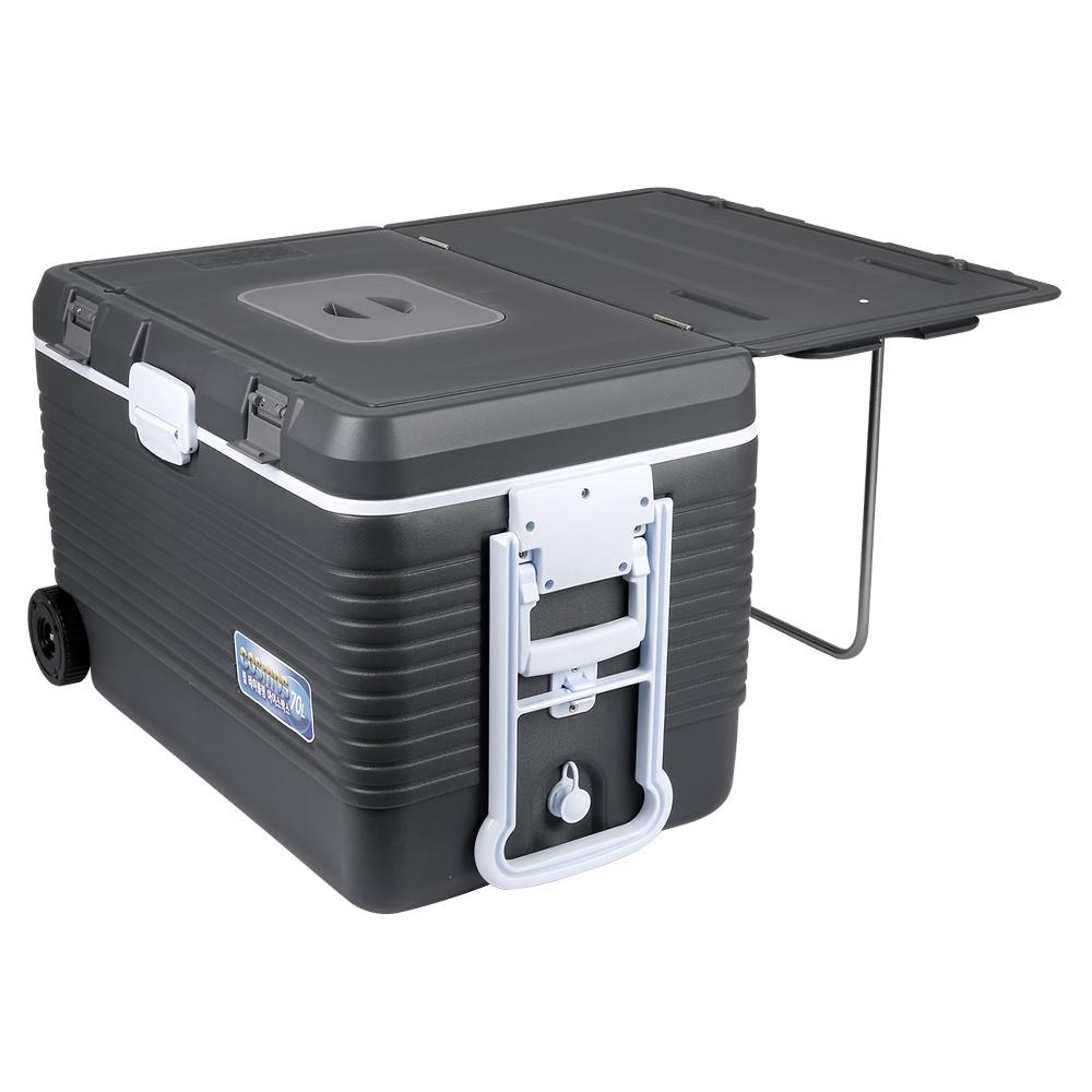코스모스 테이블겸용 바퀴형 아이스박스 WJ-970T, 혼합색상, 70L