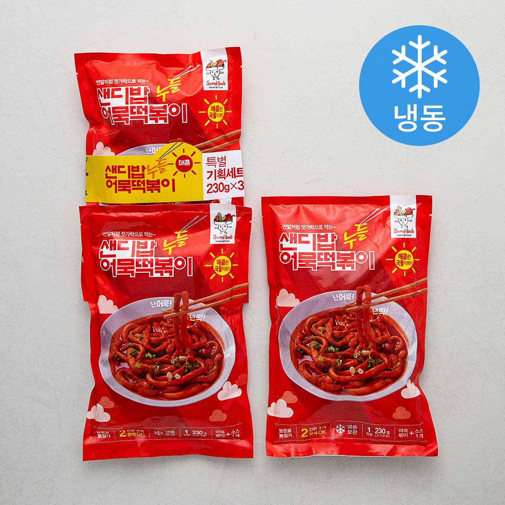샌디밥 누들어묵떡볶이 매콤한 맛 (냉동), 230g, 3팩