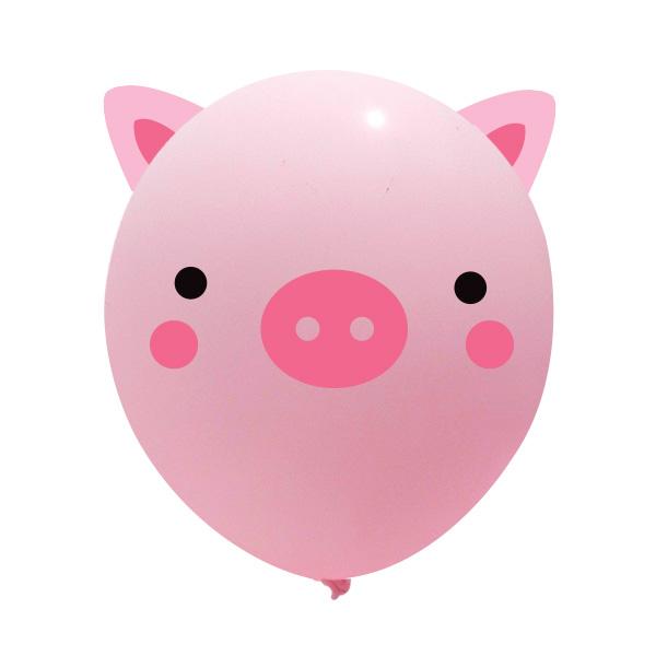 와우파티코리아 귀요미 돼지 풍선, 혼합색상, 10개