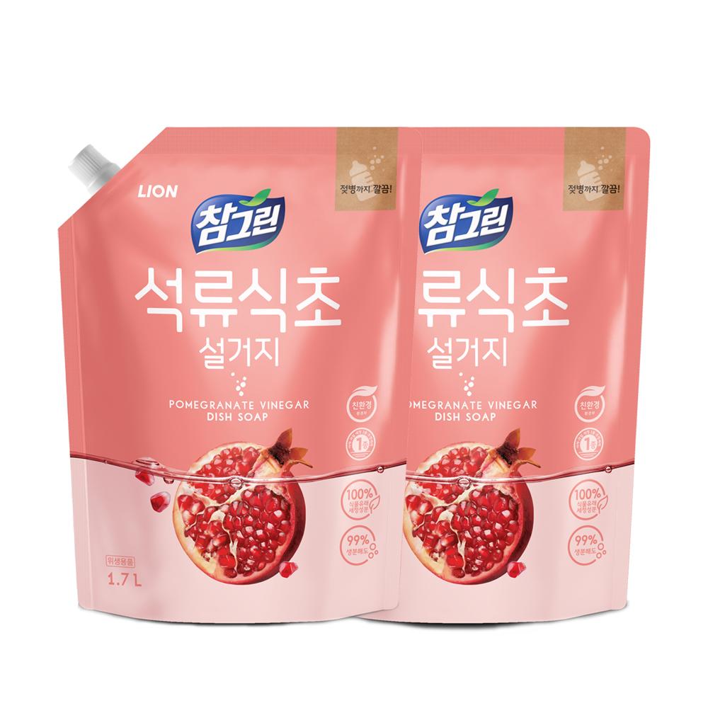 참그린 석류식초 설거지 주방세제, 1.7L, 2개