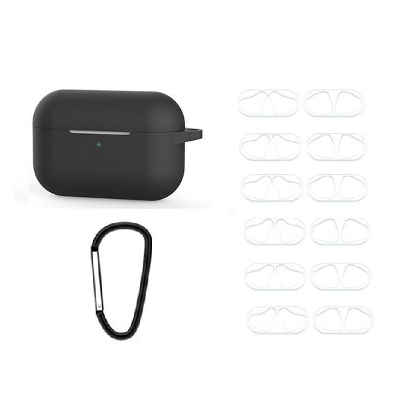 IDEAR 에어팟프로 실리콘 키링 케이스 + 투명 철가루 방지 스티커 6p, 단일상품, 블랙