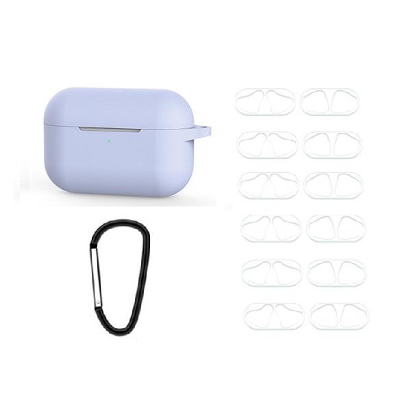 IDEAR 에어팟프로 실리콘 키링 케이스 + 투명 철가루 방지 스티커 6p, 단일상품, 퍼플