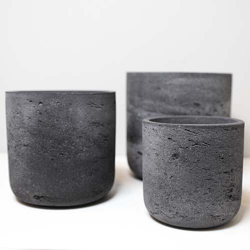 도시정원 빈티지 내추럴 시멘트 화분 NO2 3종 세트, 블랙