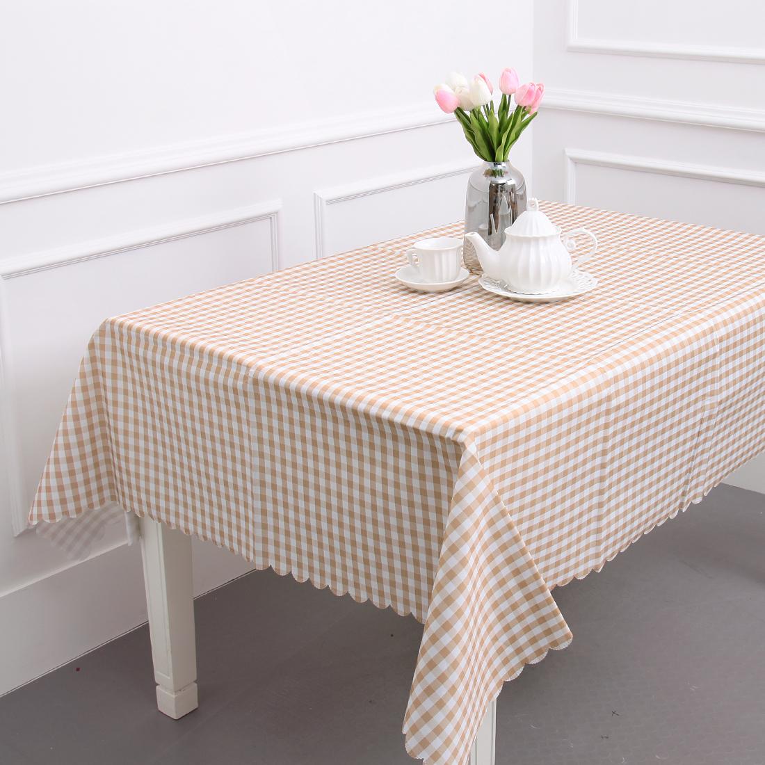 에스엠파티 4인용 방수 식탁보 + 더스트백, 브라운 체크, 183 x 147 cm