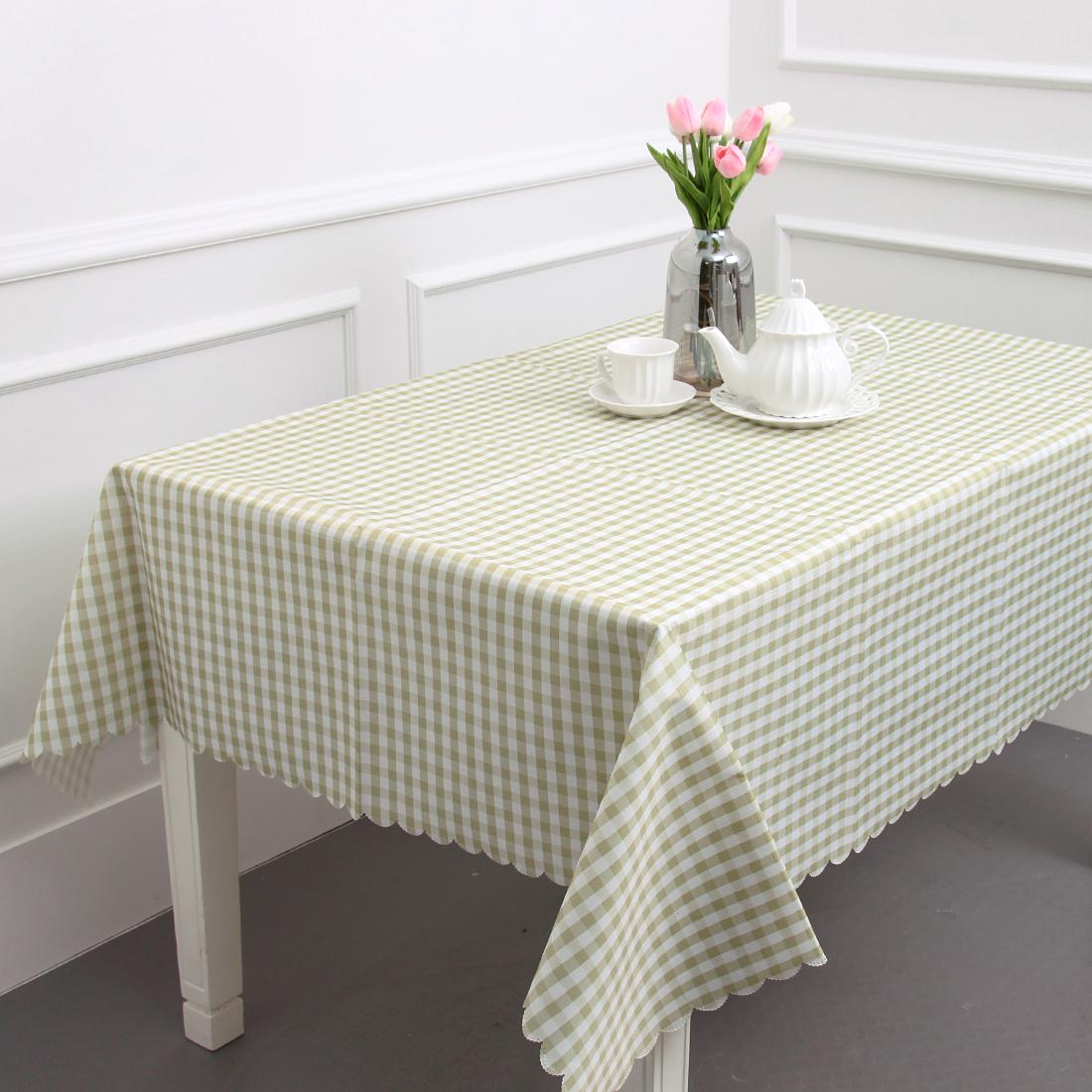 에스엠파티 4인용 방수 식탁보 + 더스트백, 연두 체크, 183 x 147 cm