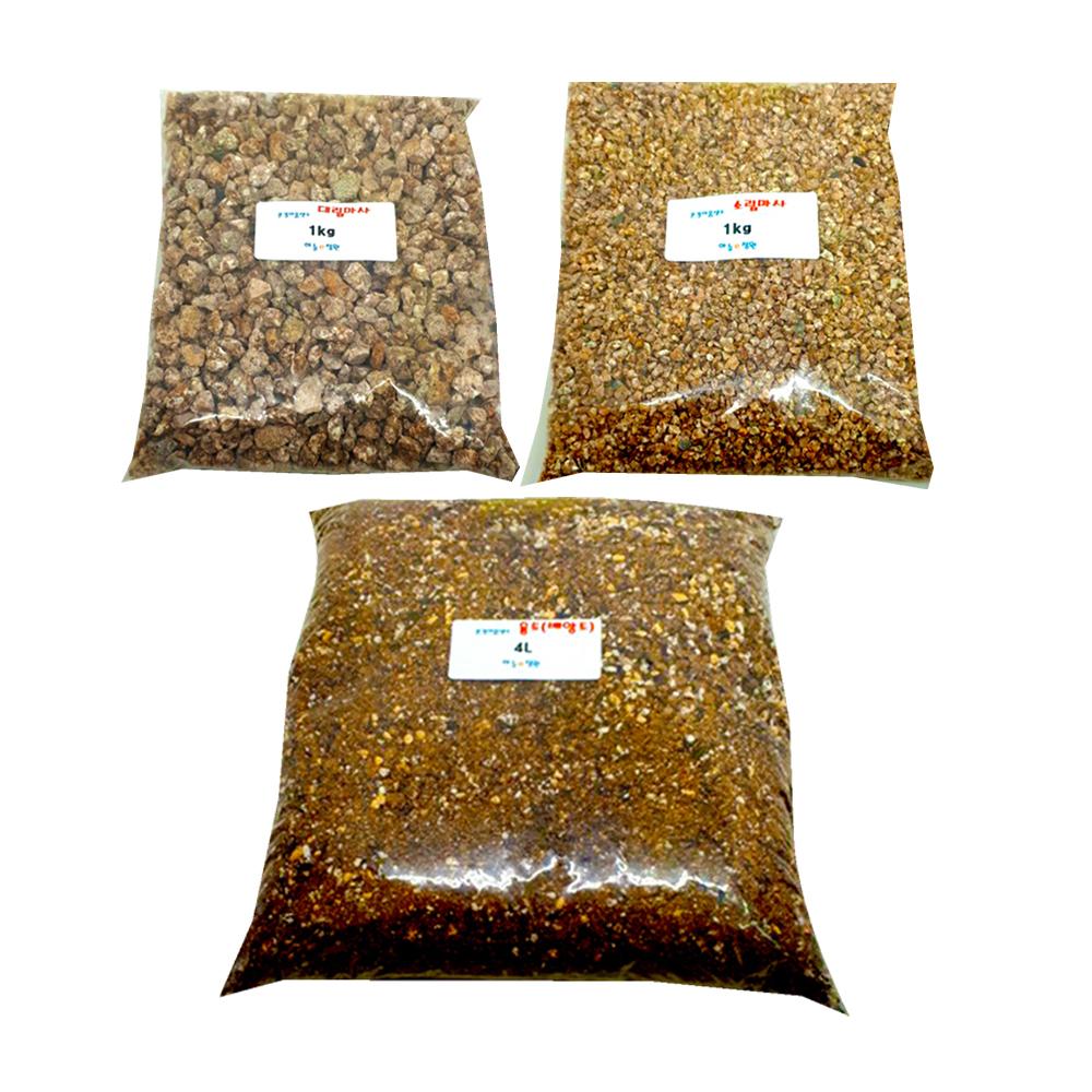 하늘e정원 분갈이 흙 용토 4L + 대립마사 1kg + 소립마사 1kg 3종 세트, 1세트 (POP 1328134875)