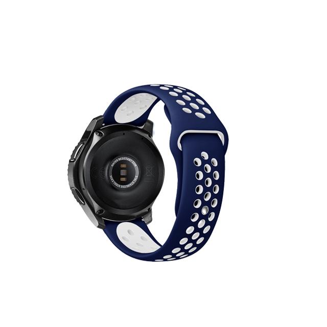 아이엠판다 갤럭시 프론티어/기어S3/워치3 22mm 펀치 리버스 실리콘 밴드 (45/46mm 호환 가능), 블루 + 화이트, 1개