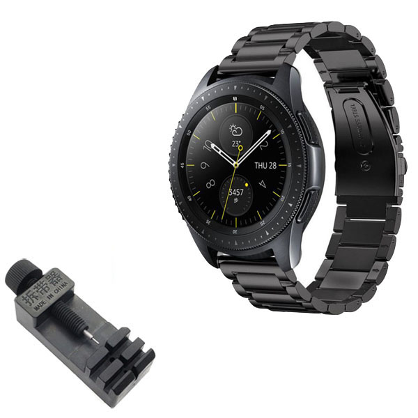 갤럭시 프론티어/기어S3/워치3 22mm 메탈 시계줄 (45/46mm 호환 가능) + 시계줄 공구 세트, 블랙, 1세트