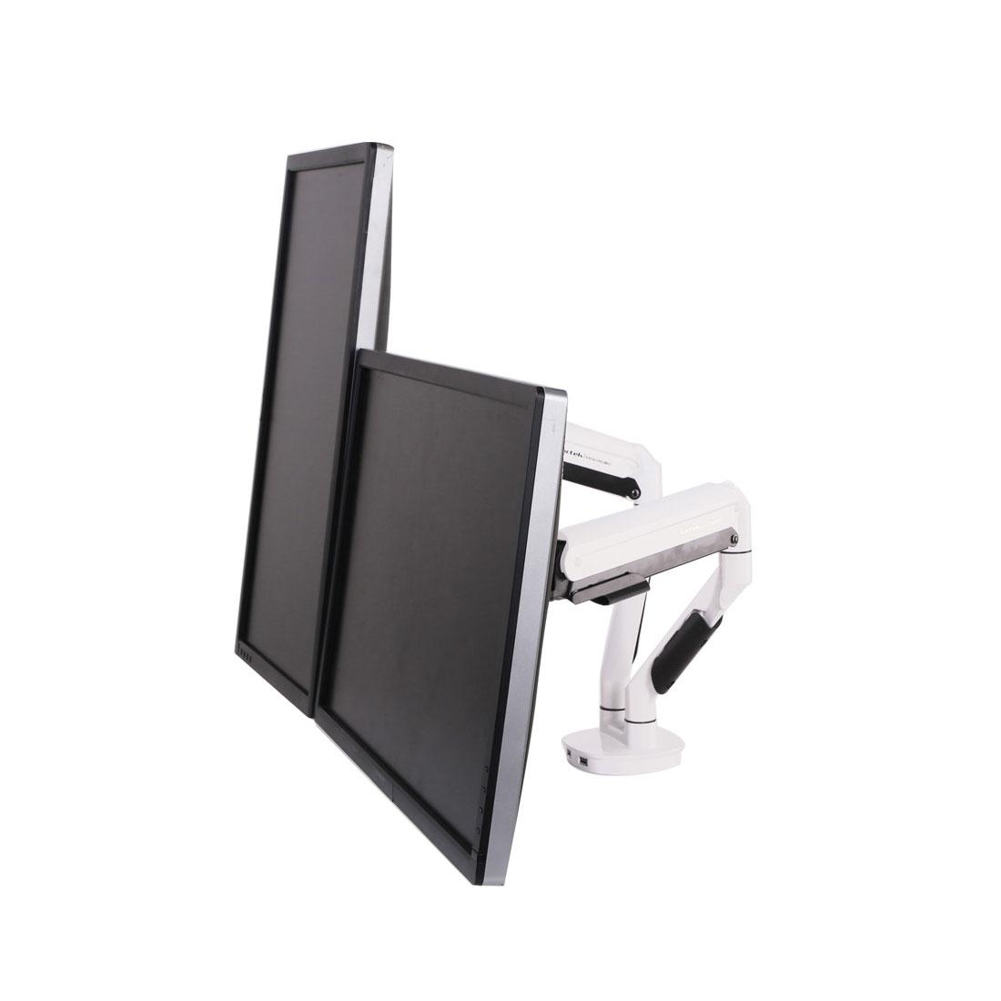 록텍 D6D 듀얼 모니터암 USB 3.0 2포트, 화이트, 1개