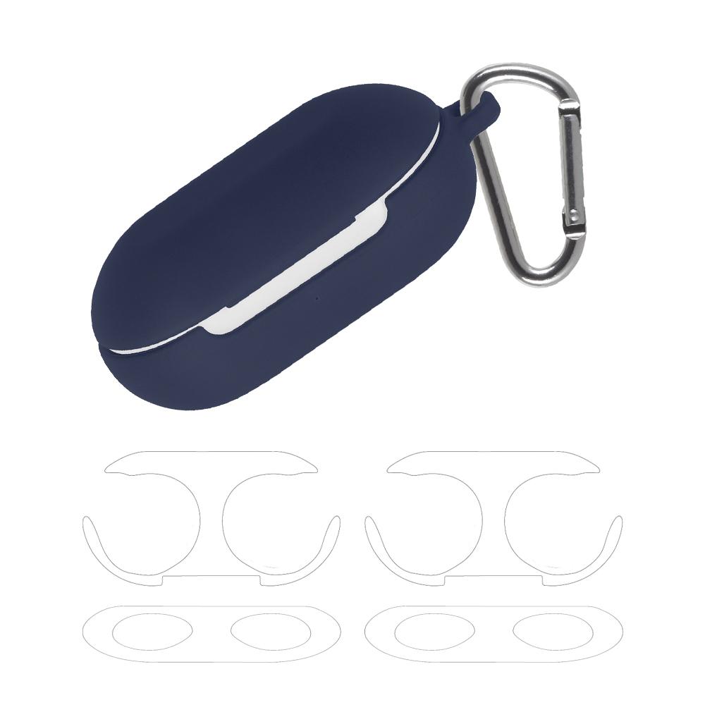 구스페리 갤럭시 버즈플러스 파스텔 실리콘 젤리 케이스 + 철가루 방지 스티커 투명 2p + 카라비너, 단일상품, 네이비