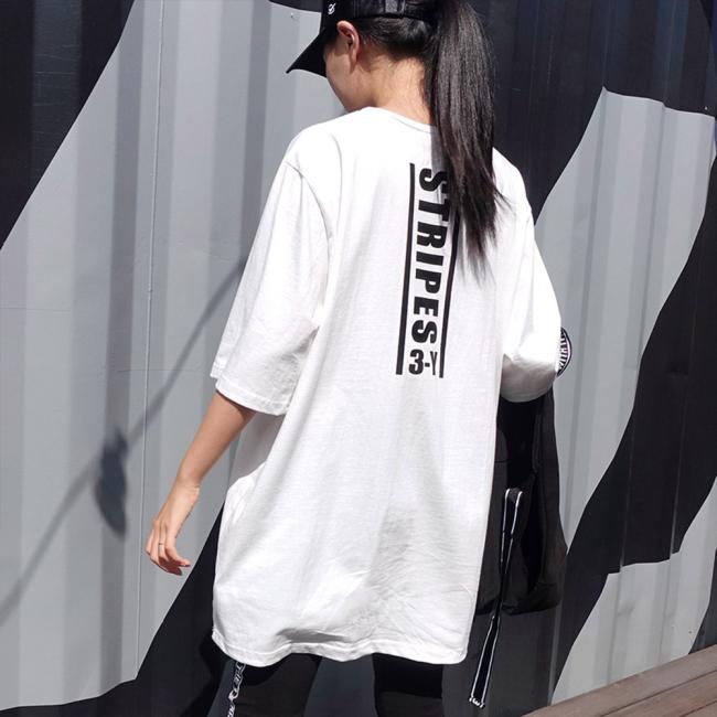 매드시스터 여성용 스트립스 오버핏 반팔 롱 티셔츠