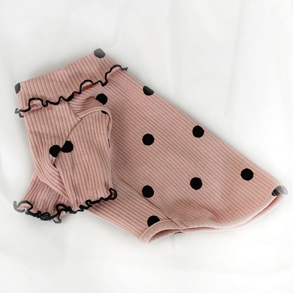 유앤펫 반려 동물 골지 땡땡이 티셔츠, 핑크