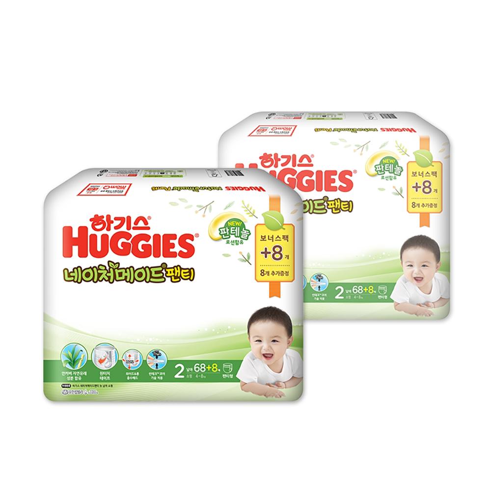 하기스 NEW 네이처메이드 팬티형 기저귀 남아용 소형 2단계(4~8kg), 152매