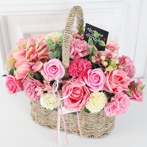 도시정원 조화 은혜로운 사랑 꽃바구니, 핑크