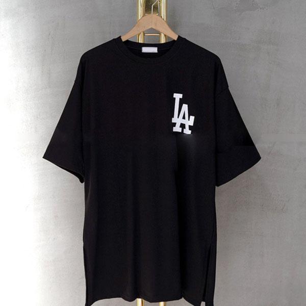 매드시스터 여성용 LA 레이어드 반팔 롱 티셔츠