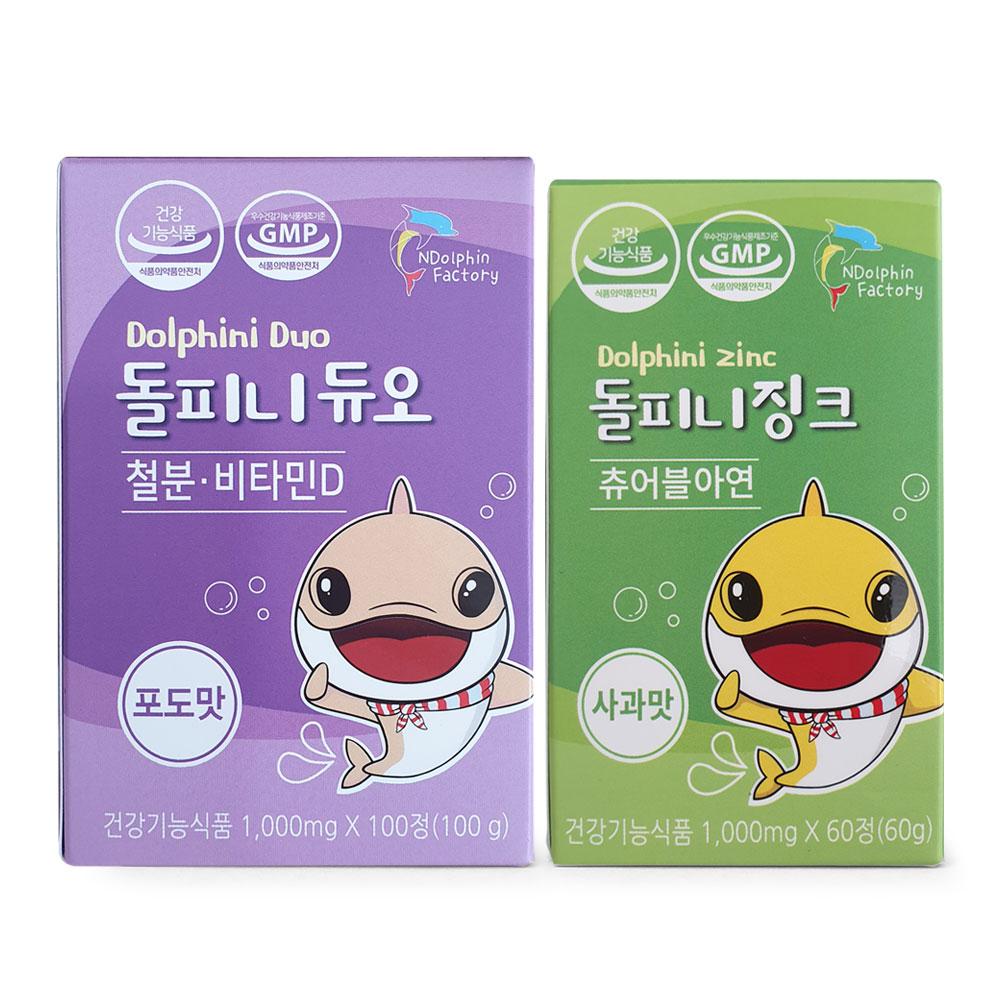돌피니듀오 철분 비타민 D 100g 포도맛 + 돌피니징크 츄어블아연 사과맛 60g, 1세트