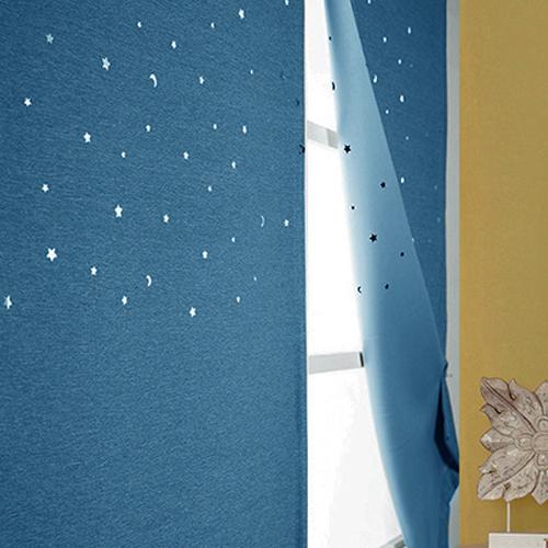 디자인갤러리 찍찍이로 붙이는 펀칭 별 암막커튼, 블루