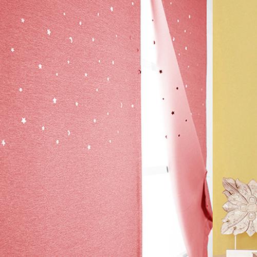 디자인갤러리 찍찍이로 붙이는 펀칭 별 암막커튼, 핑크