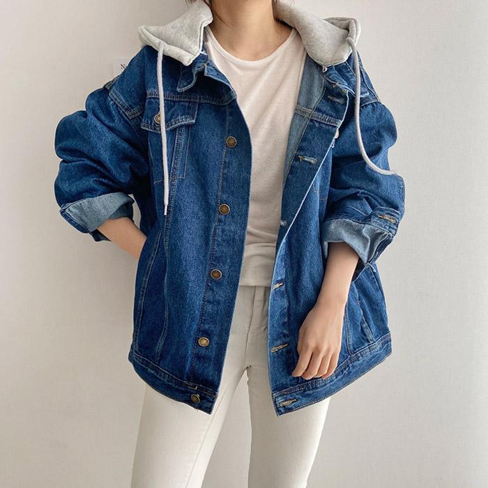제이에이치스타일 여성용 타고나 오버핏 후드 청자켓