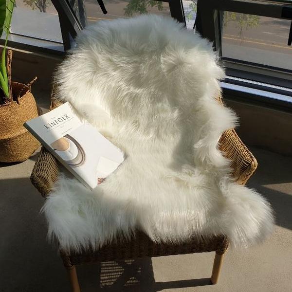 북유럽 에코 페이크 양털 양모 러그, 화이트