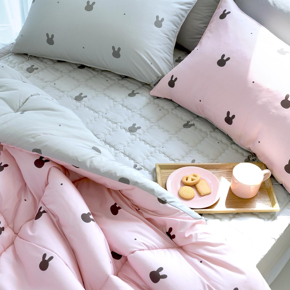 마이하우스 알러지케어 래빗도트 키즈 차렵이불 + 베개커버 + 패드 세트, 핑크