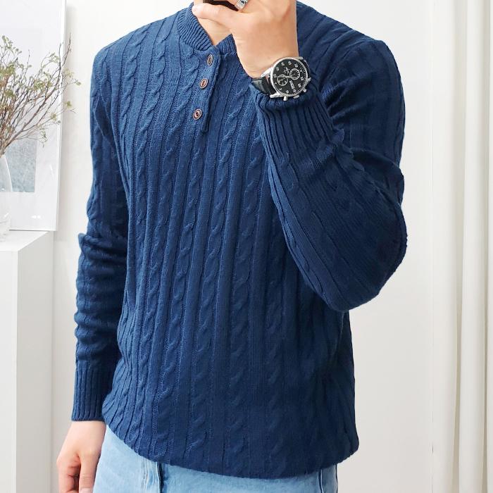 더클래식 남성용 봄 꽈배기 헨리넥 니트 스웨터