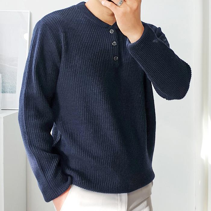 더클래식 남성용 봄 하찌 단추 헨리넥 니트 스웨터
