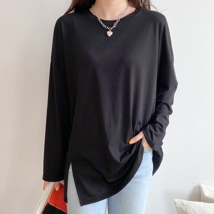 아모르데이 여성용 뉴안 트임 라운드넥 티셔츠
