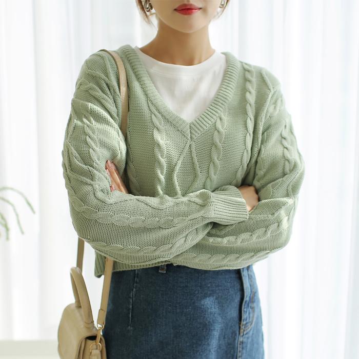 빼빼 여성용 케이블 꽈배기 브이넥 크롭 니트 티셔츠