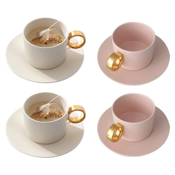 쓰임 마리벨 골드 크림화이트 컵 2p + 컵받침 2p + 코지핑크 컵 2p + 컵받침 2p 4인조 세트, 혼합색상, 1세트