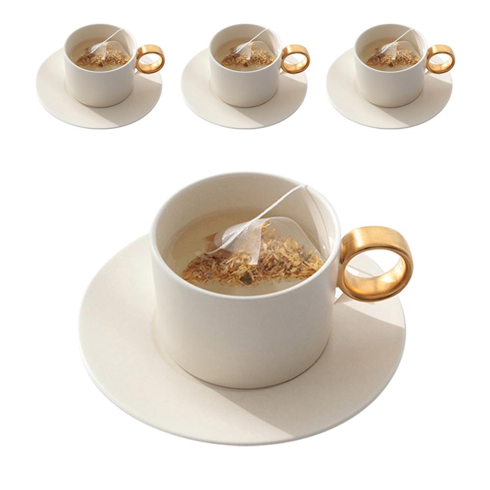 쓰임 마리벨 골드 컵 4p + 컵받침 4p 4인조 세트, 크림화이트, 1세트