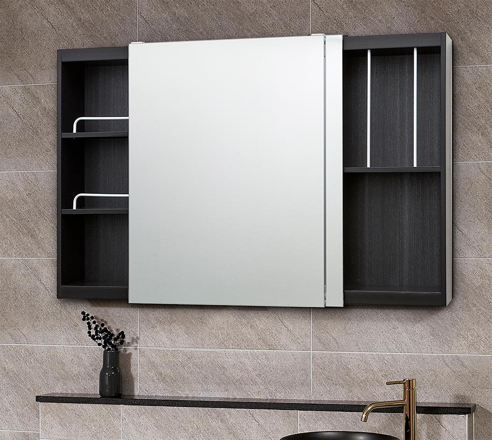 모카 전면 거울 슬라이드 도어 욕실 수납장 1200 x 800 mm, 심플블랙, 1개