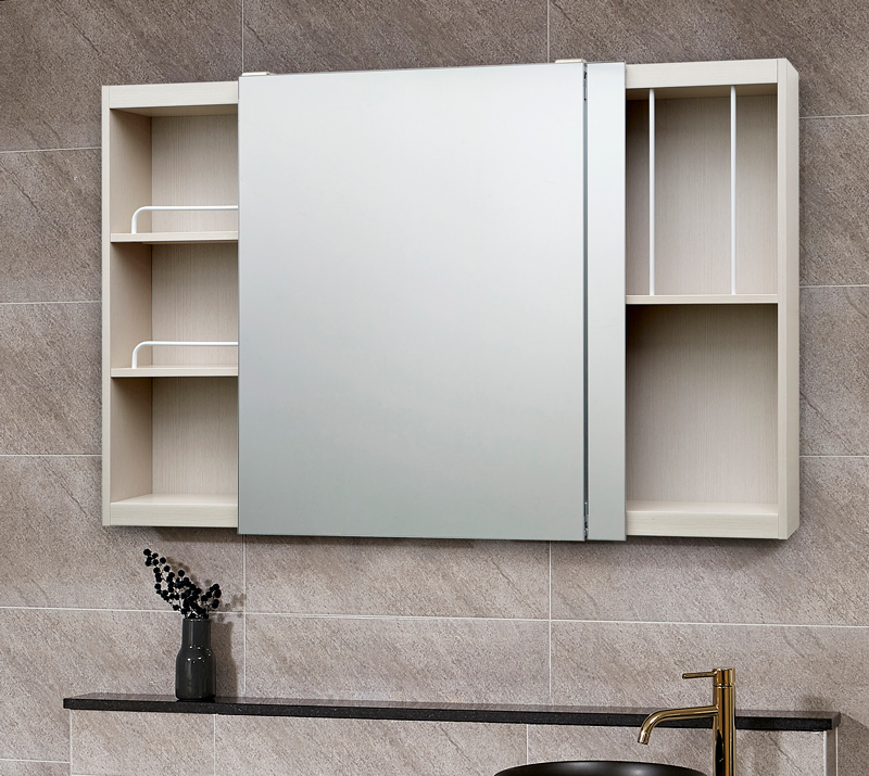 모카 전면 거울 슬라이드 도어 욕실 수납장 1200 x 800 mm, 심플화이트, 1개
