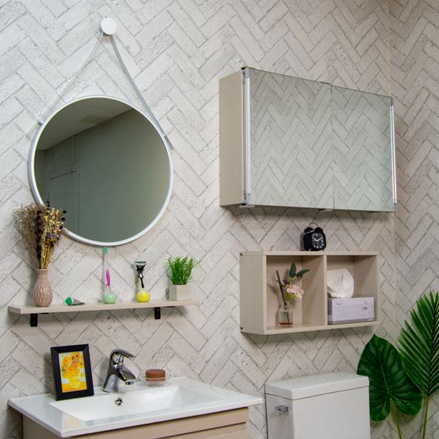 모카 미니 슬라이드 욕실 수납장 800 x 500 mm, 심플화이트, 1개