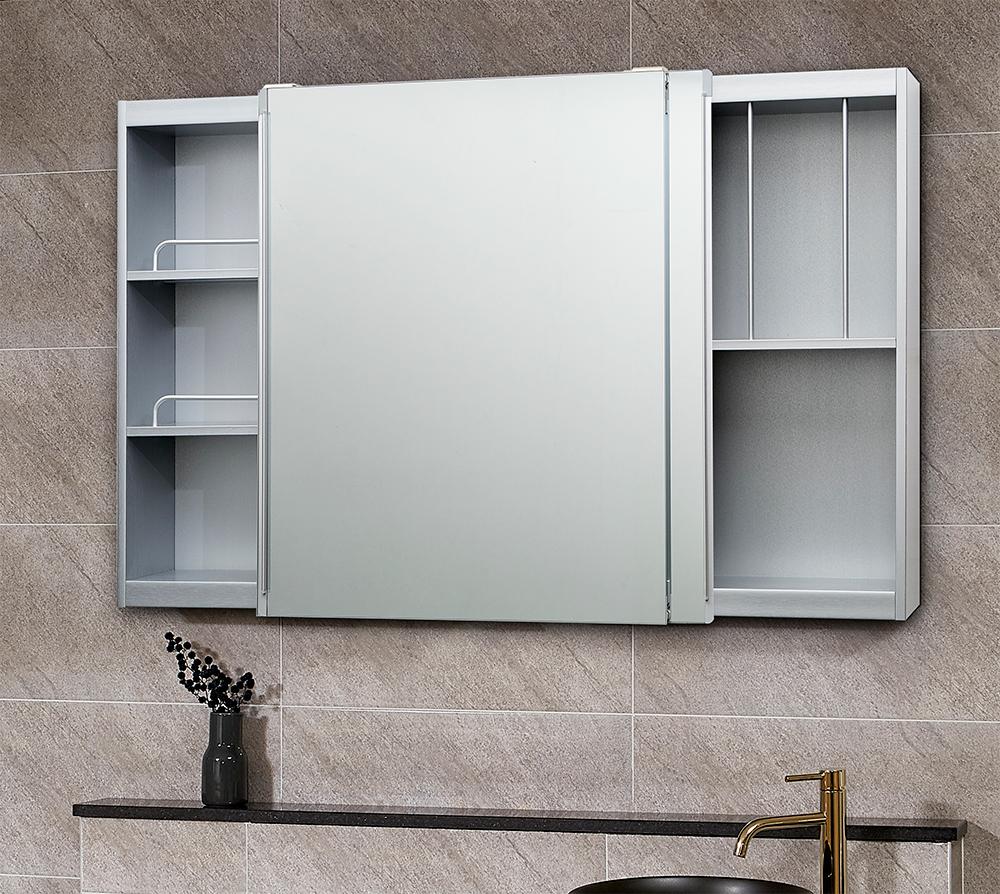 모카 전면 거울 슬라이드 도어 욕실 수납장 1200 x 800 mm + 댐퍼 + 손잡이, 실버, 1개