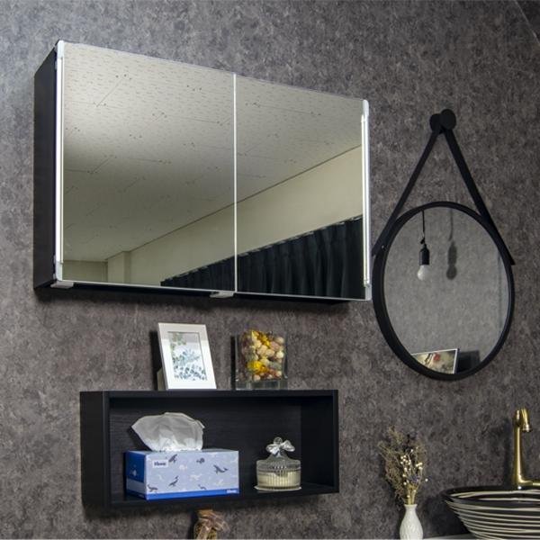 모카 미니 슬라이드 욕실 수납장 800 x 500 mm, 심플블랙, 1개