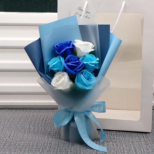 홈마인 조화 사랑가득 꽃다발 + 종이가방 랜덤발송, 블루믹스(BLUE MIXED)