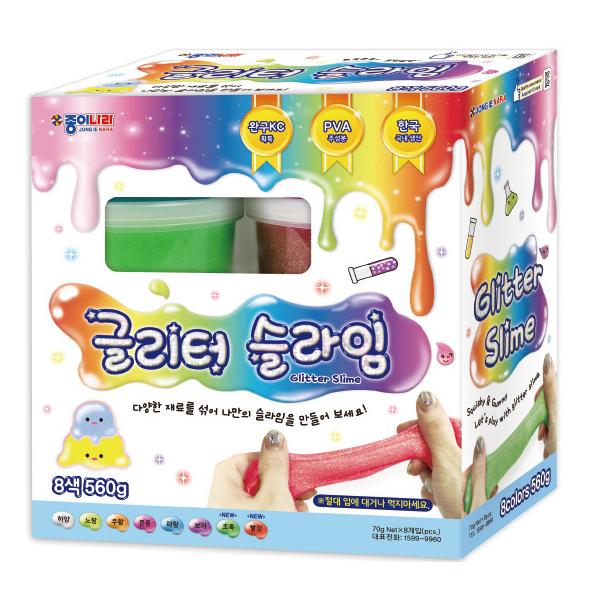 종이나라 글리터 슬라임 8색 세트, 1세트, 하양, 분홍, 노랑, 주황, 초록, 파랑, 보라, 빨강