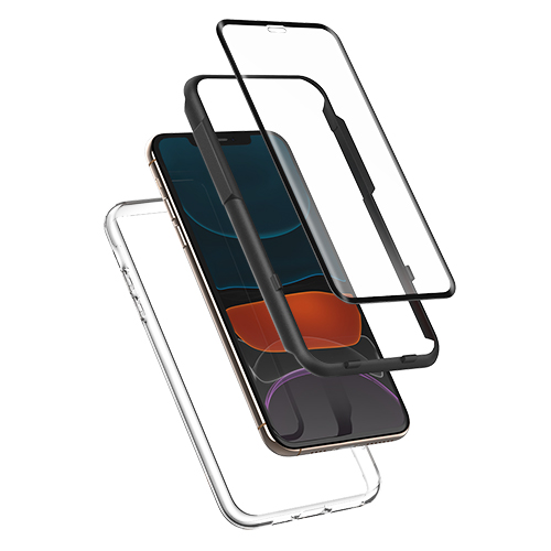 신지모루 360도 보호 3D 풀커버 강화유리필름 + 에어클로 케이스, 1세트
