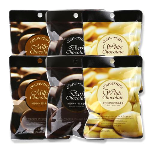 코인커버처 홈베이킹 초콜렛 세트, 다크 90g x 2p + 화이트 90g x 2p + 밀크 90g x 2p, 1세트